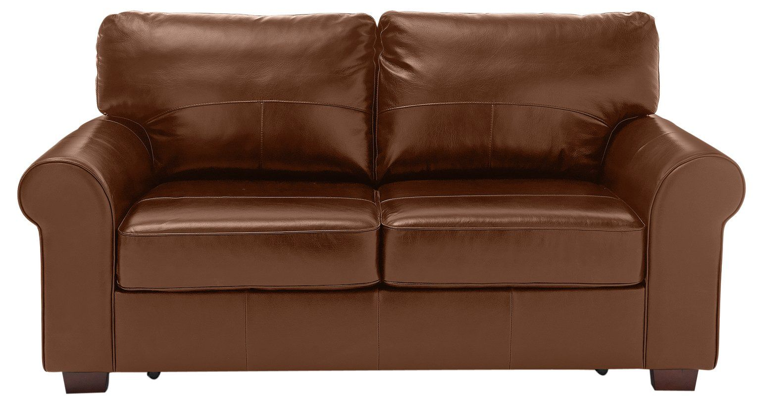 Argos Home Salisbury 2 Seater Leather Sofa Bed Tan in