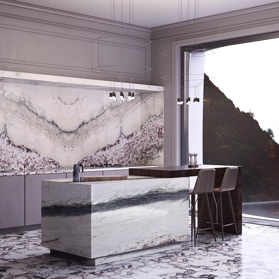 Artistic Tile On Instagram This Awe Inspiring Mix Of Breccia Capraia Turns This Waterfront Kitchen Into A Blissful Artistic Tile Kitchen Gallery Unique Tile