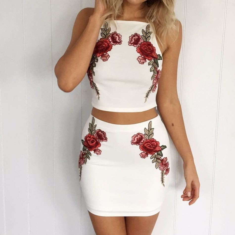 Solid Color White Embroidery Two Piece Dress Two Piece Dress Set Dress Piece Dress [ 950 x 950 Pixel ]