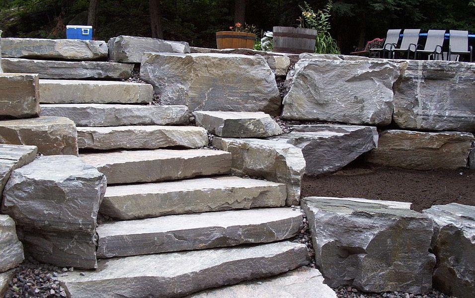 Irregular Natural Stone Steps And Boulders For Walls
