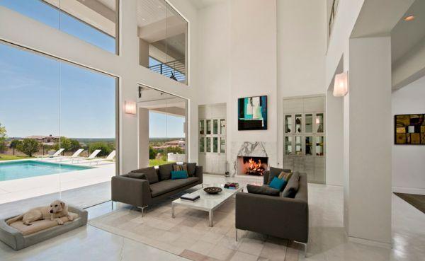 maritim einrichten minimalistisches wohnzimmer mit panoramafenster ... - Wohnzimmer Maritim Einrichten