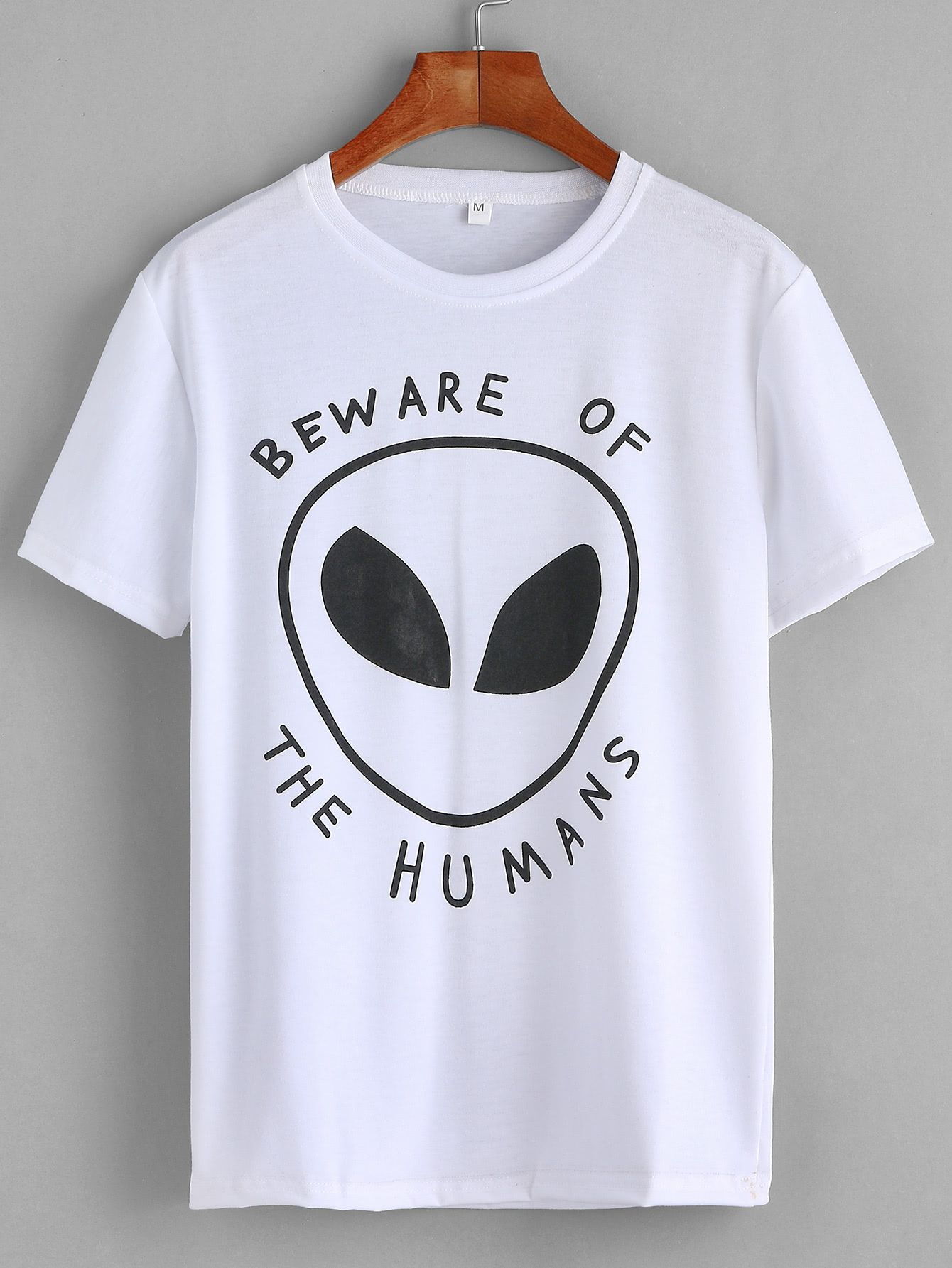 c68e677db6 Shop White Alien Print T-shirt online. SheIn offers White Alien Print T- shirt & more to fit your fashionable needs.