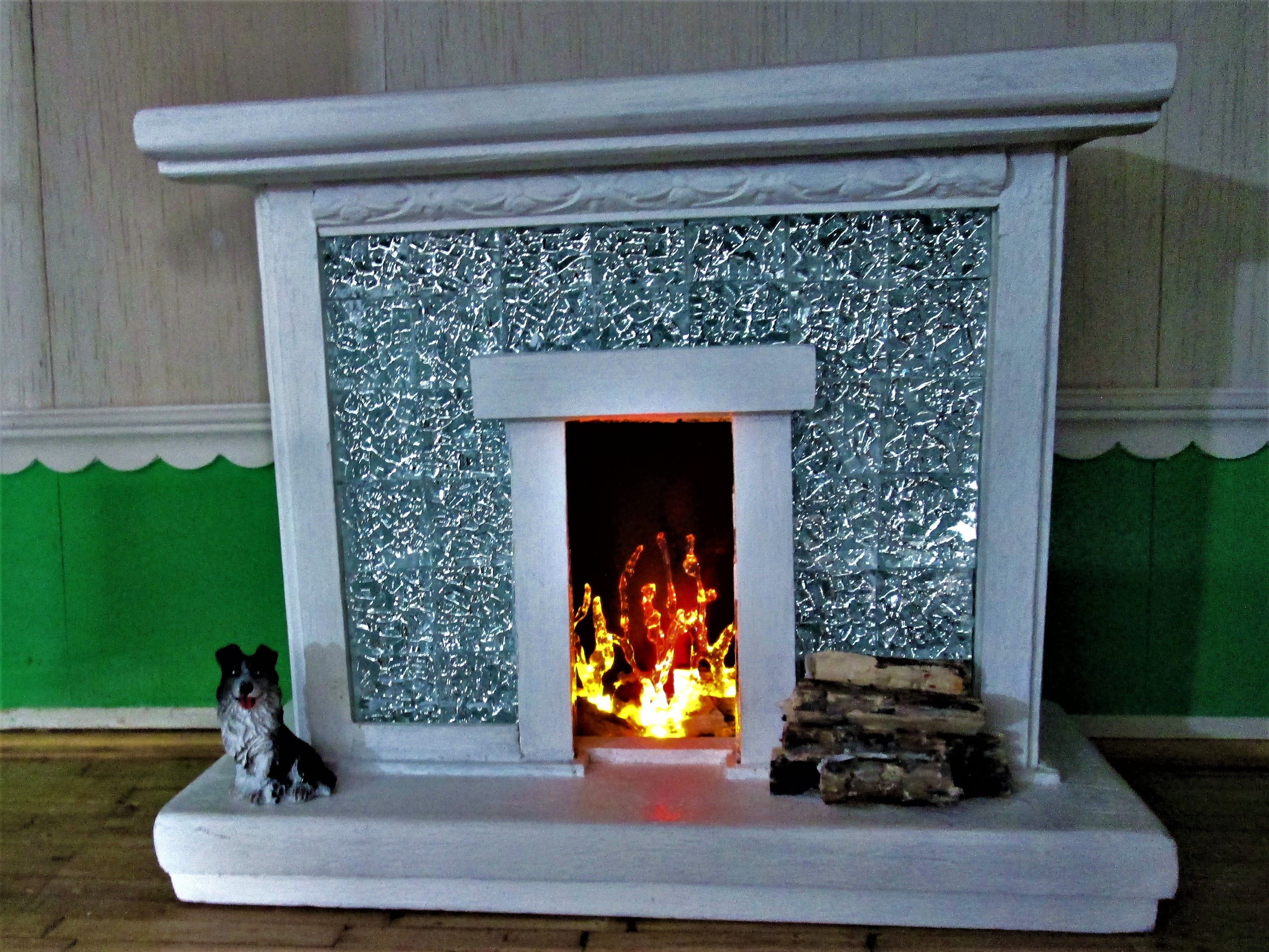 1:12 scale dollhouse fireplace unique fireplace, led flame fireplace ...