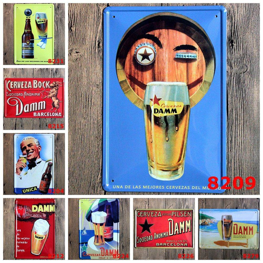 distressed metal tin pop art wall posters for pubs mancave bistro