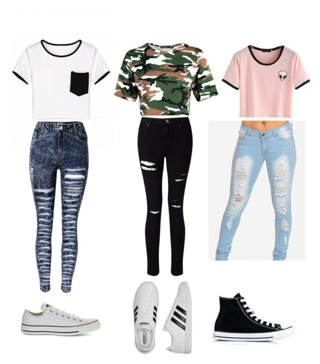 """""""crop top cutie"""" by madystultz on Polyvore featuring Boohoo, Miss Selfridge, adidas and Converse"""