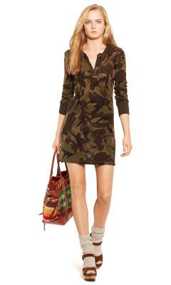 A rich color combination in this Camo Henley Shirtdress by Polo Ralph Lauren.  It would b851fee82621