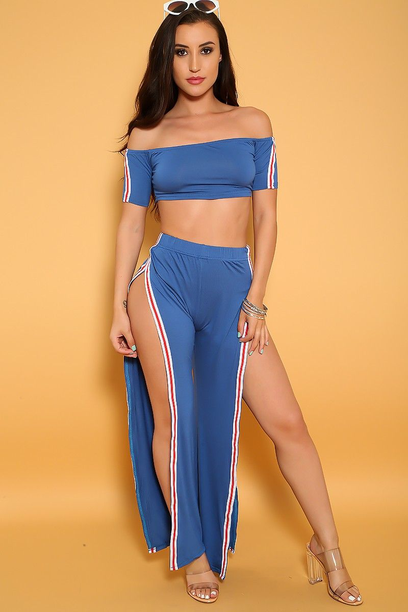 9a81d68209cd Buy Sexy Blue Off The Shoulders Side Slit Two Piece Outfit with cheap price  and high quality outfit online store which also sales Sexy Outfit