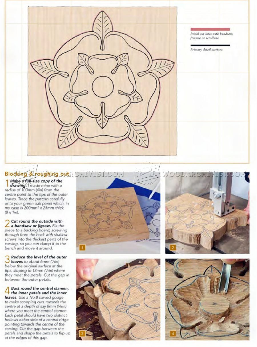 1222 tudor rose carving - wood carving patterns - wood