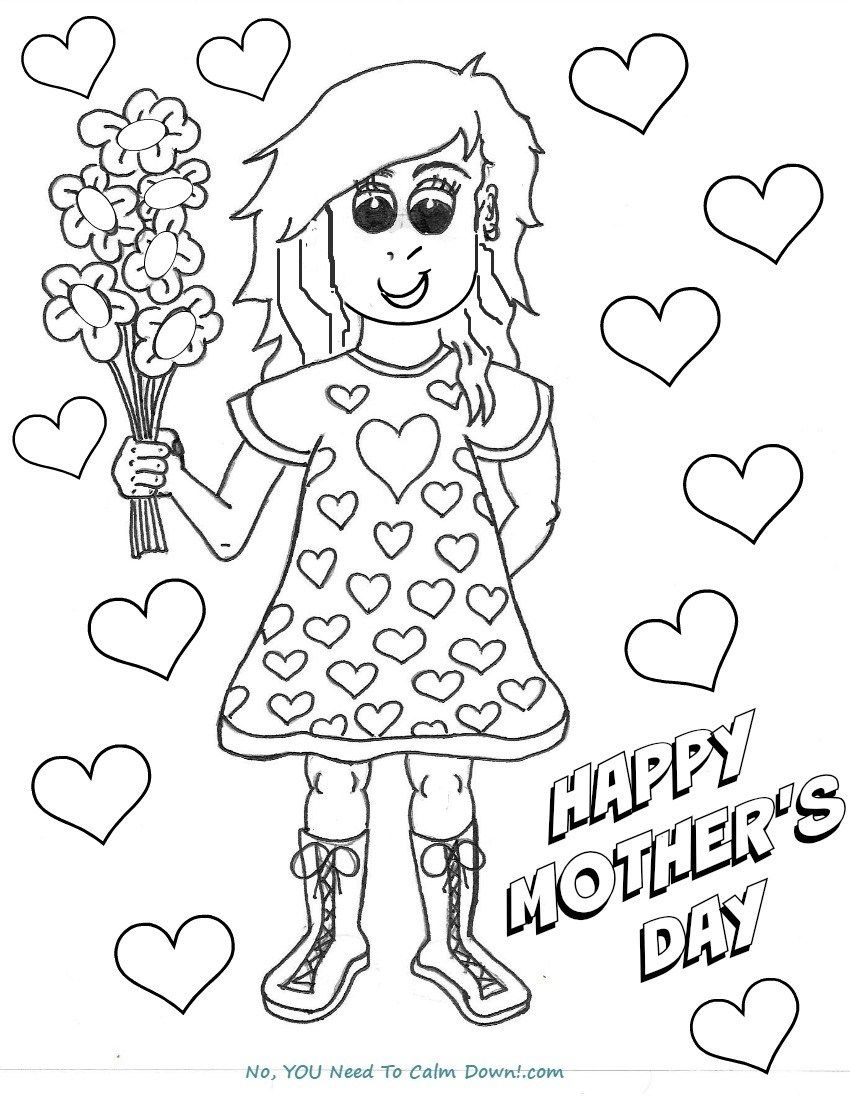 Free printable coloring pages mothers day - Girl With Flowers Mother S Day Coloring Page Free Printable