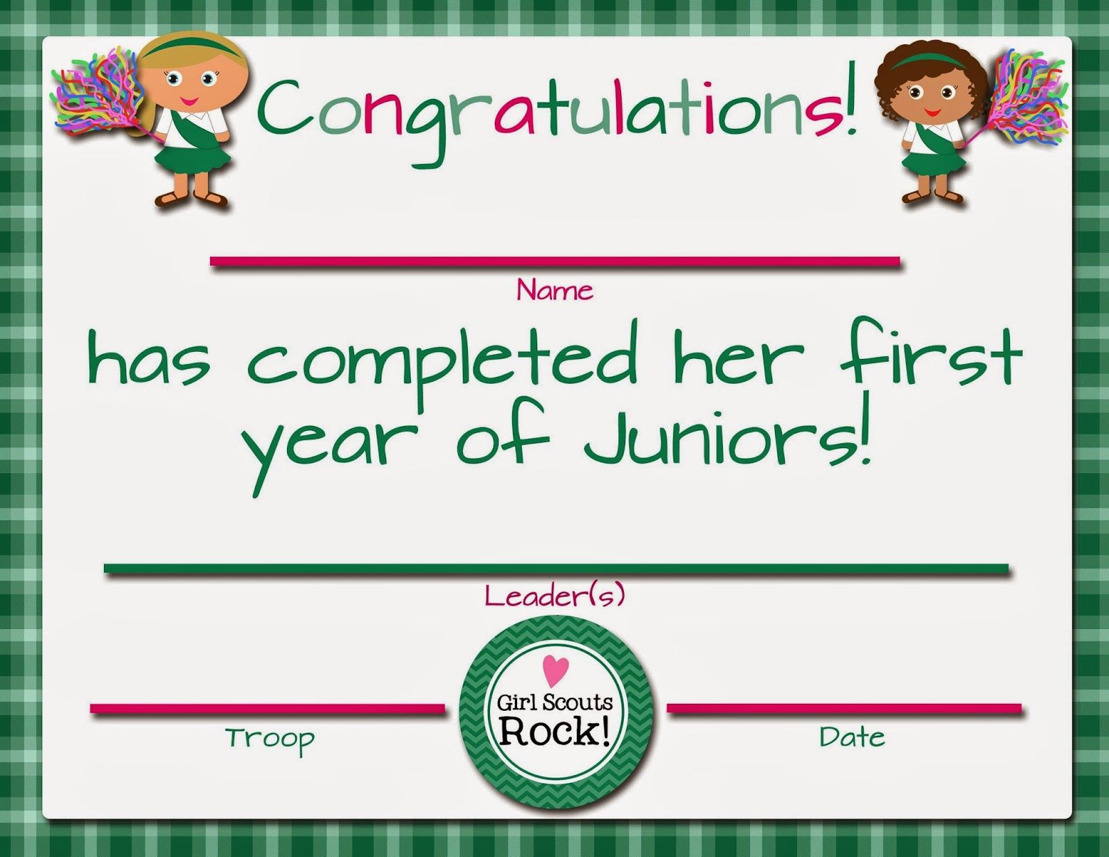 Girl Scouts Free Printable First Year Certificates For
