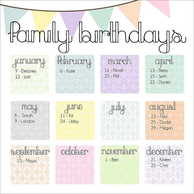 Birthday Calendar Calendar Template Birthday Calendar Calendar