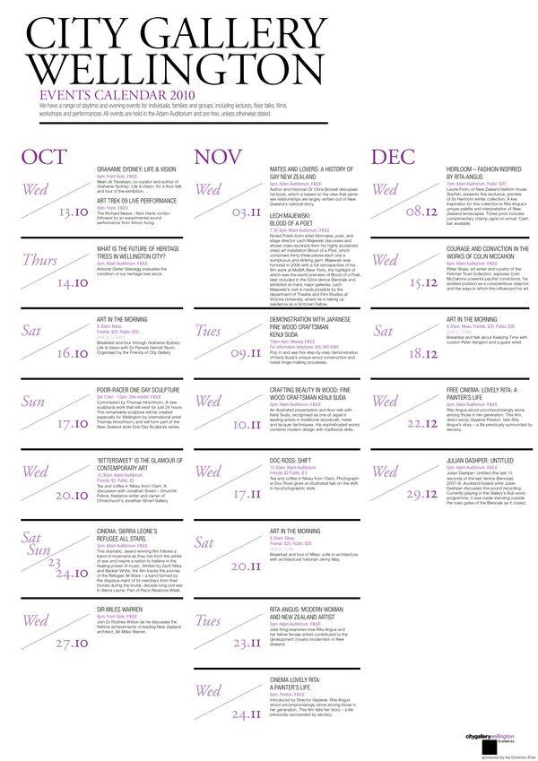 City Gallery Brochure \ Calendar by Priya Chauhan, via Behance - event agendas