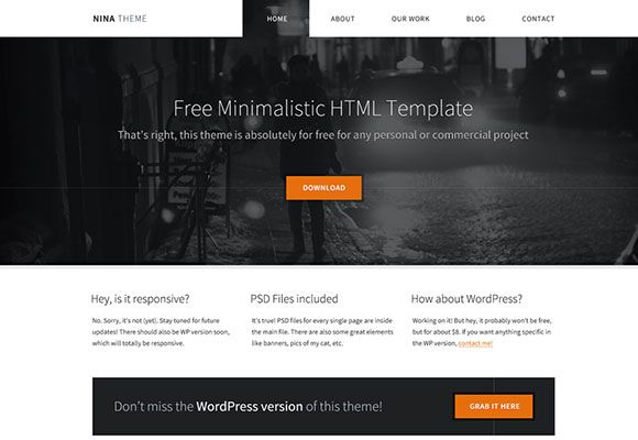 Nina Free Html Minimal Template Freebiesbug Blog Templates Free Template Html5 Free Portfolio Website Template