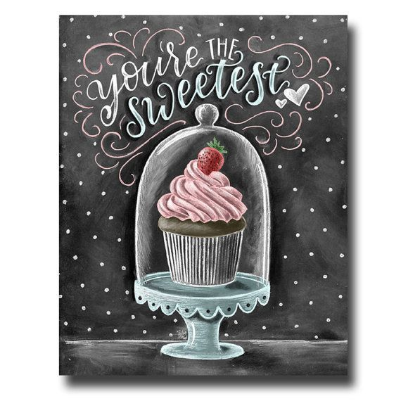 Cupcake Art, Chalkboard Art, Cupcake Print, Valentine's Day, Love Sign, Cupcake Stand, Chalk Art, You're The Sweetest, Bakery Sign - #Art #Bakery #Chalk #Chalkboard #Cupcake #Day #love #print #sign #Stand #Sweetest #Valentines #Youre