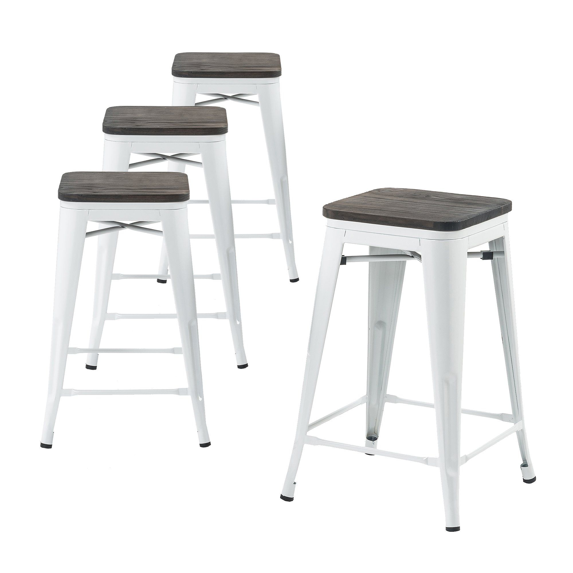 Buschman Set Of Four White Wooden Seat 24 Inches Counter High Tolix