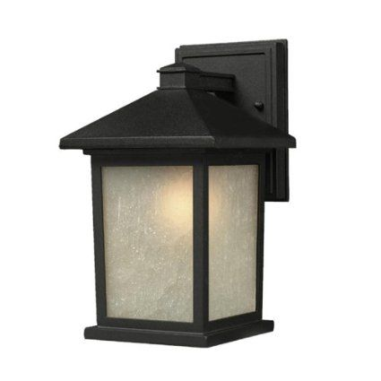 $80 Amazon.com: Z-Lite 507S-BK Holbrook Outdoor Wall Light, Metal Frame, Black Finish and White Seedy Shade of Glass Material: Home Improvement