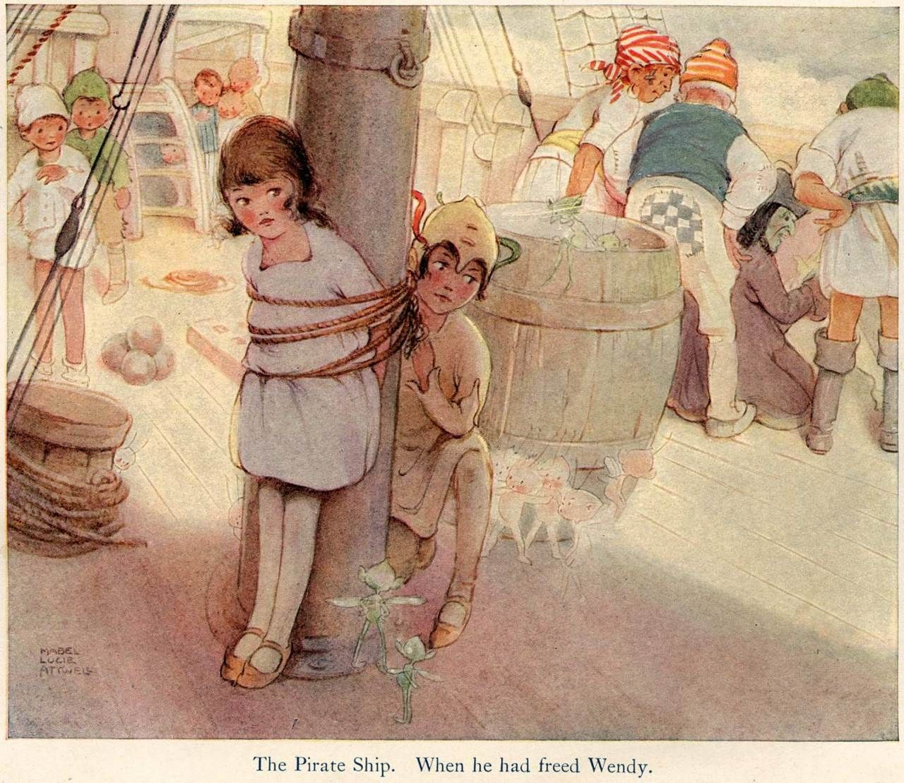 Mabel Lucie Attwell ~ The Pirate Ship. When he had freed Wendy. ~ Peter