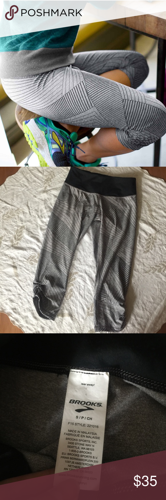 Brooks Running Green Light Capri These are in perfect condition! Size small :) no flaws! Never worn! Bought for $70. They are Reversible! Smoke and pet free home. No trades. Offers welcome as long as they are reasonable! Brooks Pants Leggings