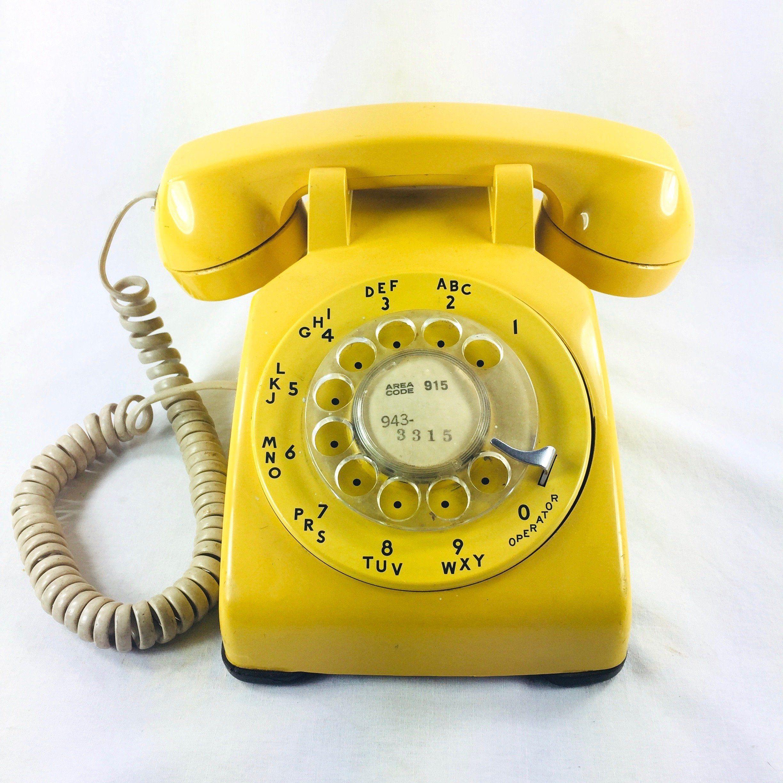 Yellow Rotary Phone C 1970 S Prop Etsy Rotary Phone Phone Vintage Phones