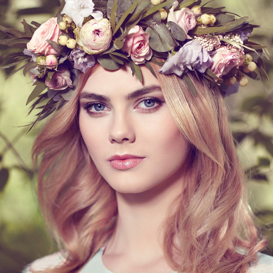 Beautiful blonde woman with flower wreath on her head pinned by beautiful blonde woman with flower wreath on her head beautiful blonde woman with flower wreath on her head beauty girl with flowers hairstyle girl in a izmirmasajfo