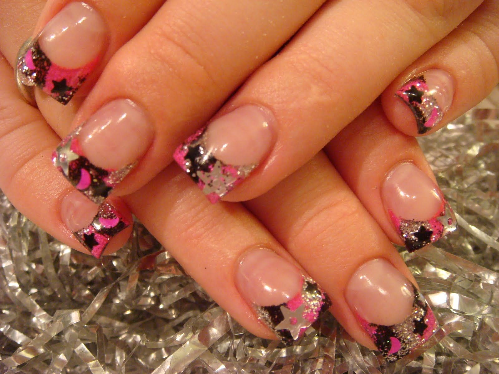 Pink Acrylic Nail Designs | ... stars and hot pink moons ...