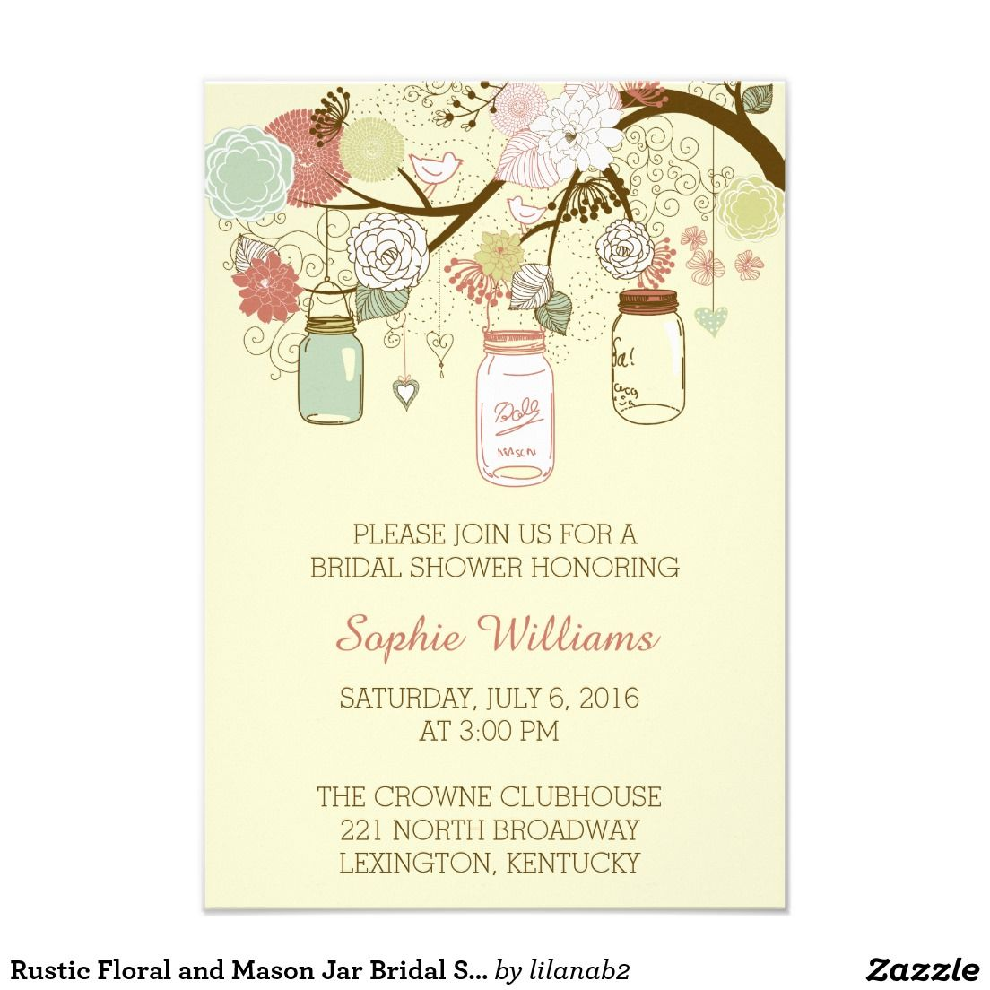 Rustic Floral and Mason Jar Bridal Shower Card @zazzle #zazzle ...