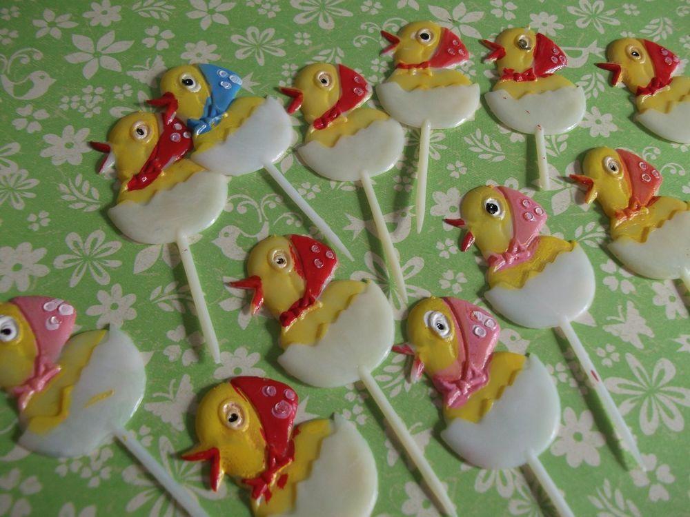 VTG Easter Cake Picks,cute chicks Pics, Cake Decorations, Easter Crafts~14 lot~  #Unbranded