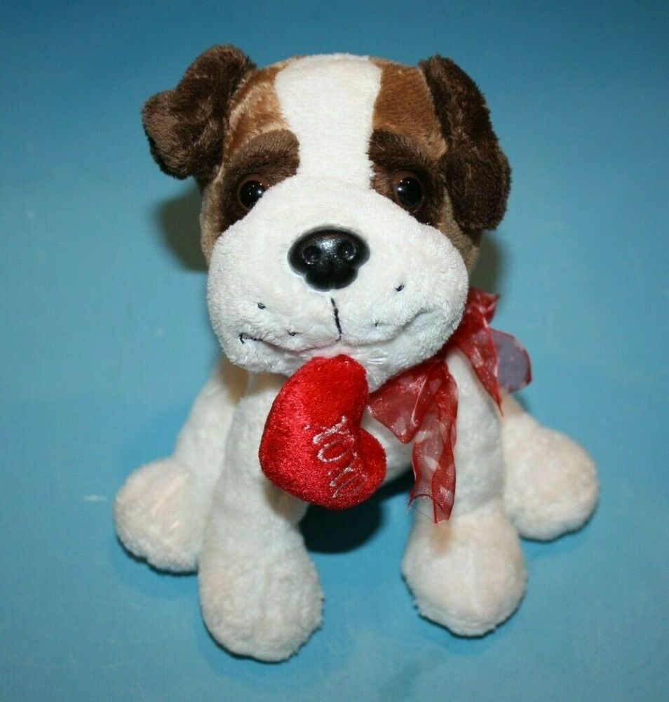 Stuffed Animal Xoxo Heart In Mouth Puppy Dog Soft Toy Brown White