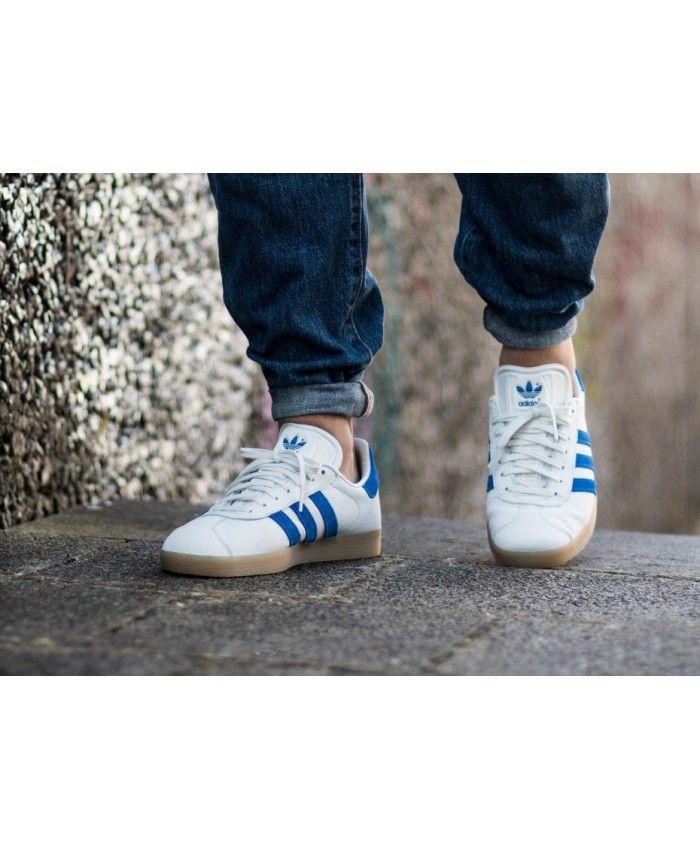 quality design e9dbe 3d3df Mens Adidas Gazelle Vintage White Bold Blue Gum Trainer