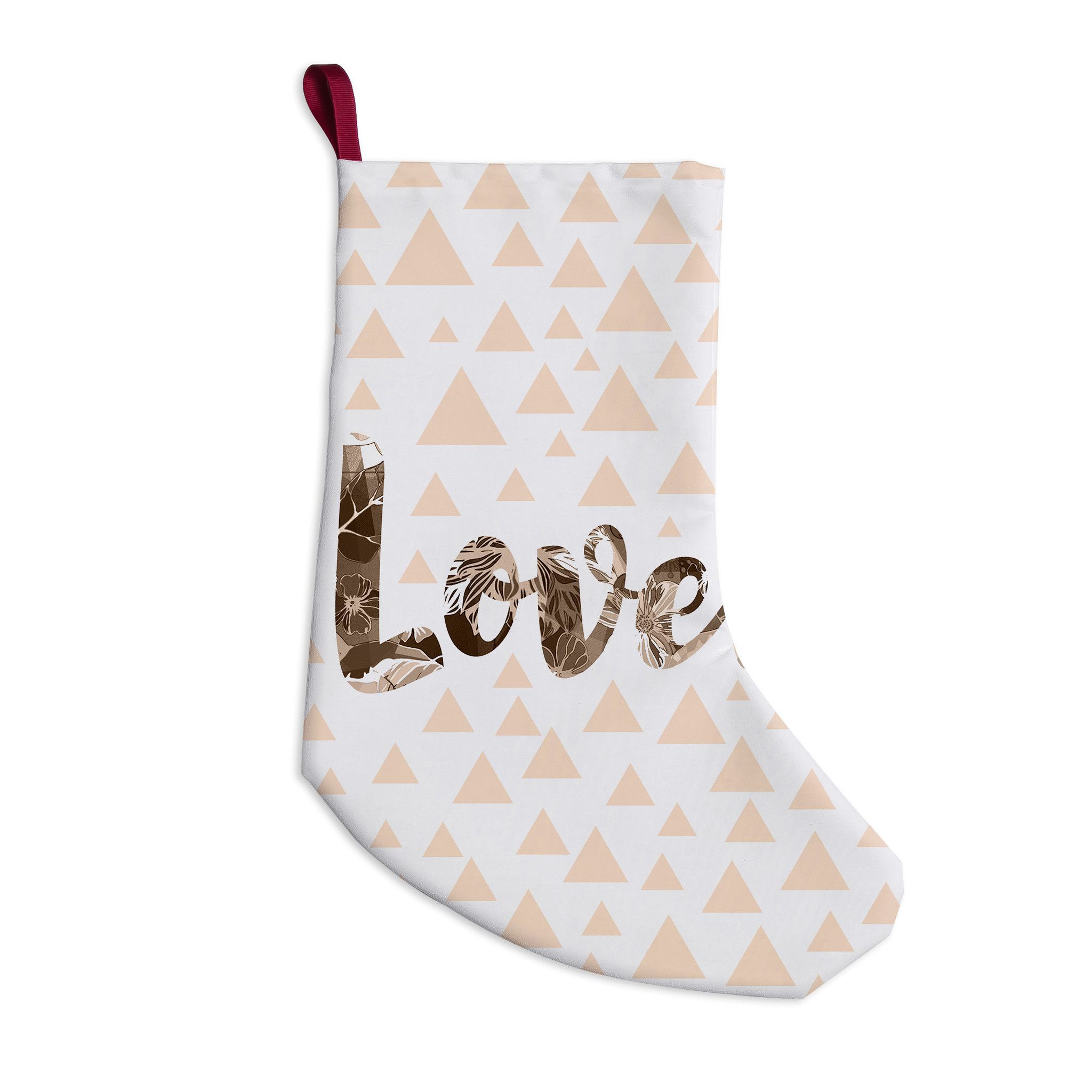 """Suzanne Carter """"Lovely"""" Beige Digital Christmas Stocking"""