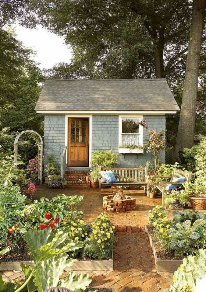 I Would Live In A Cute Little She Shed But Decorate More The Brick Path And Flower Garden Are Good Starts