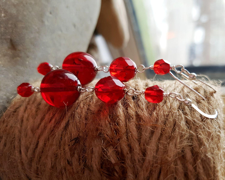 Long Luscious Red Dangle Earrings, Fair Trade, Sterling Silver, Red Glass  Statement Earrings, Vegan Friendly