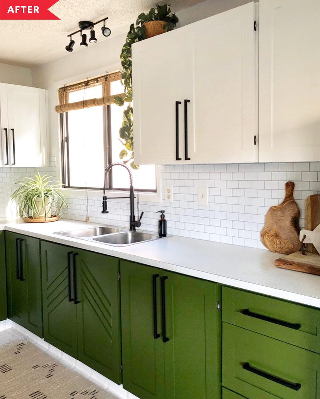 Before and After: Budget Upgrades Totally Transformed This Kitchen and Its Dark Wood Cabinets