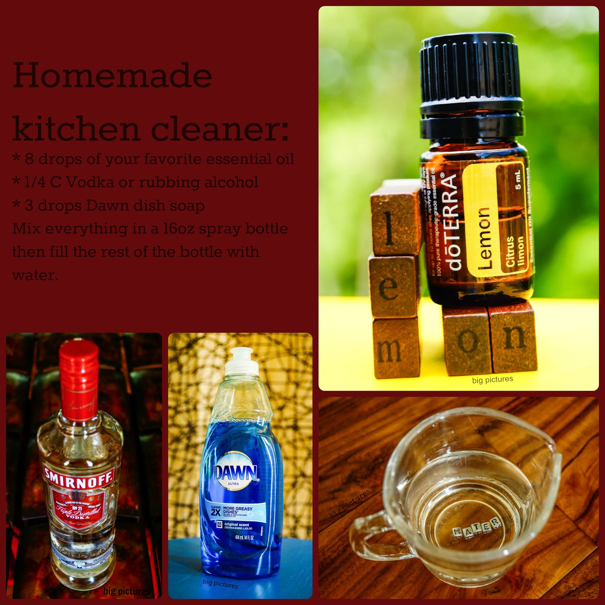 Homemade kitchen cleaner recipe * 8 drops of your