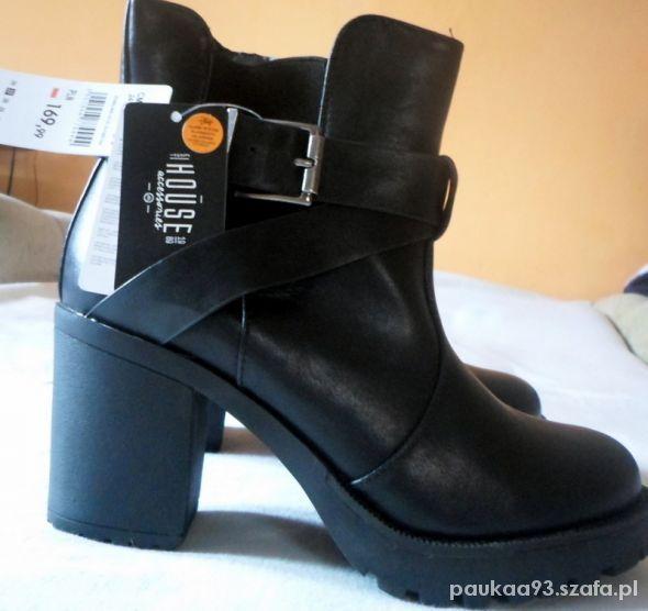 Czarne Botki Na Grubym Obcasie Slupku Trapery W Botki Szafa Pl Boots Ankle Boot Shoes