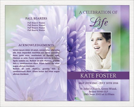 Funeral Program Template Order Of Service Obituary Template