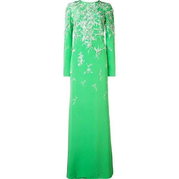 Monique Lhuillier embroidered long sleeved gown (187 535 UAH) ❤ liked on Polyvore featuring green and monique lhuillier