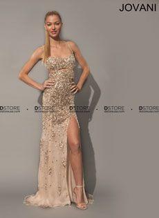 Spaghetti Straps Beaded Tulle Gown with Cutouts Placida 79024 : DSTORE USA, Miami Premiere Eveningwear Boutique
