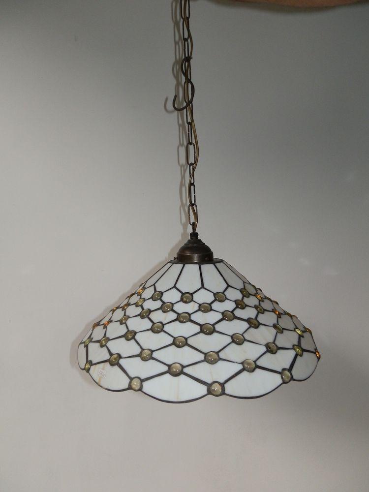 Lampadario da soggiorno cucina in vetro Tiffany diam.cm 3O ...