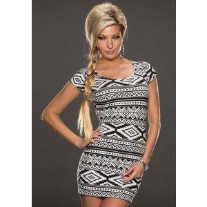 Gray Geometrical Pattern Print Mini Club Dress