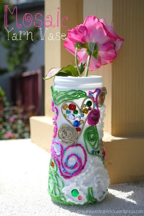 Yarn Mosaic Vase (Fine Motor Challenge) by Crayon Box Chronicles