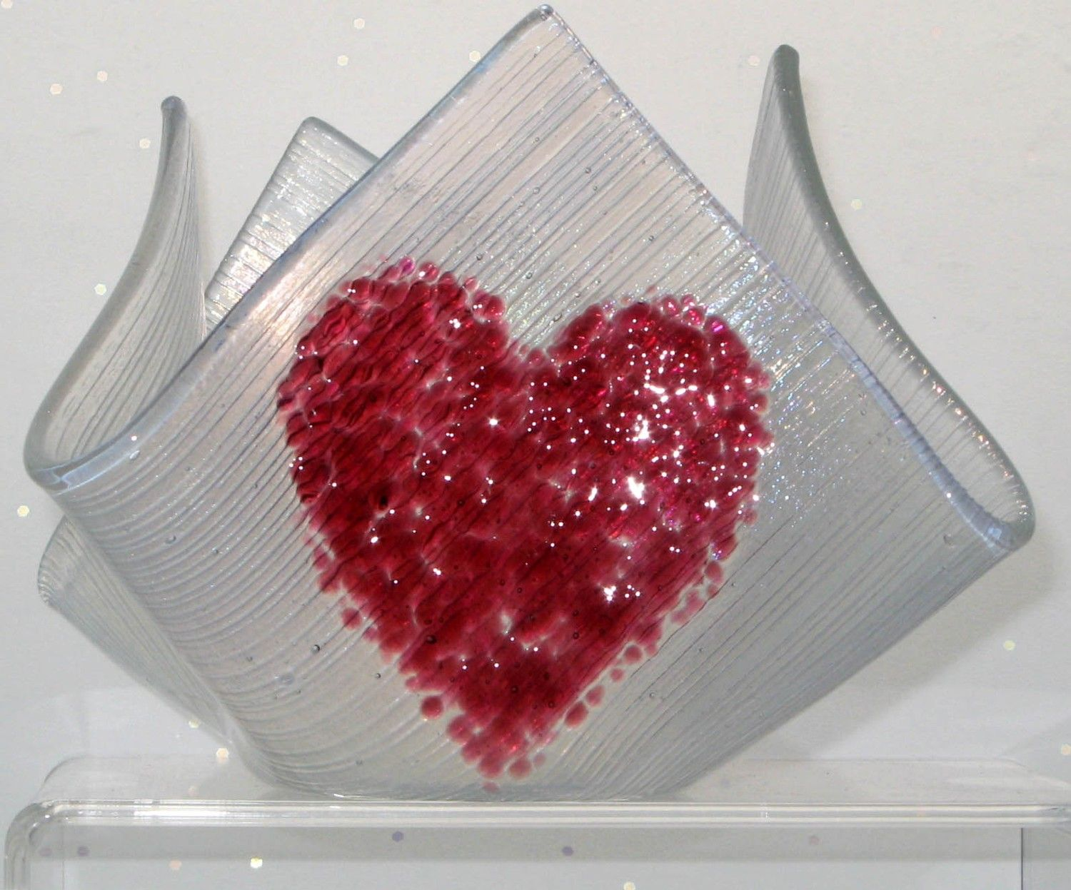 Fused Glass Candle Holder with a Cranberry Heart on Clear