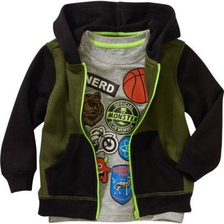 d290f3b0a Healthtex Baby Toddler Boy Fleece Hoodie and Graphic T-Shirt 2pc Set ...