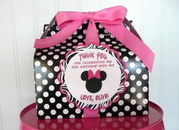 Minnie Mouse PinkBackZEBRA Birthday Favor BoxSet of 10 Zebra