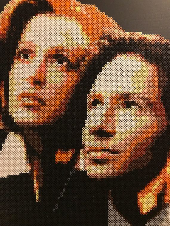 Mulder & Scully portrait made from thousands of Perler beads