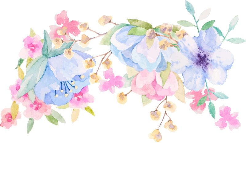 Watercolour Flower Frame Background Clip Art Graphic Design