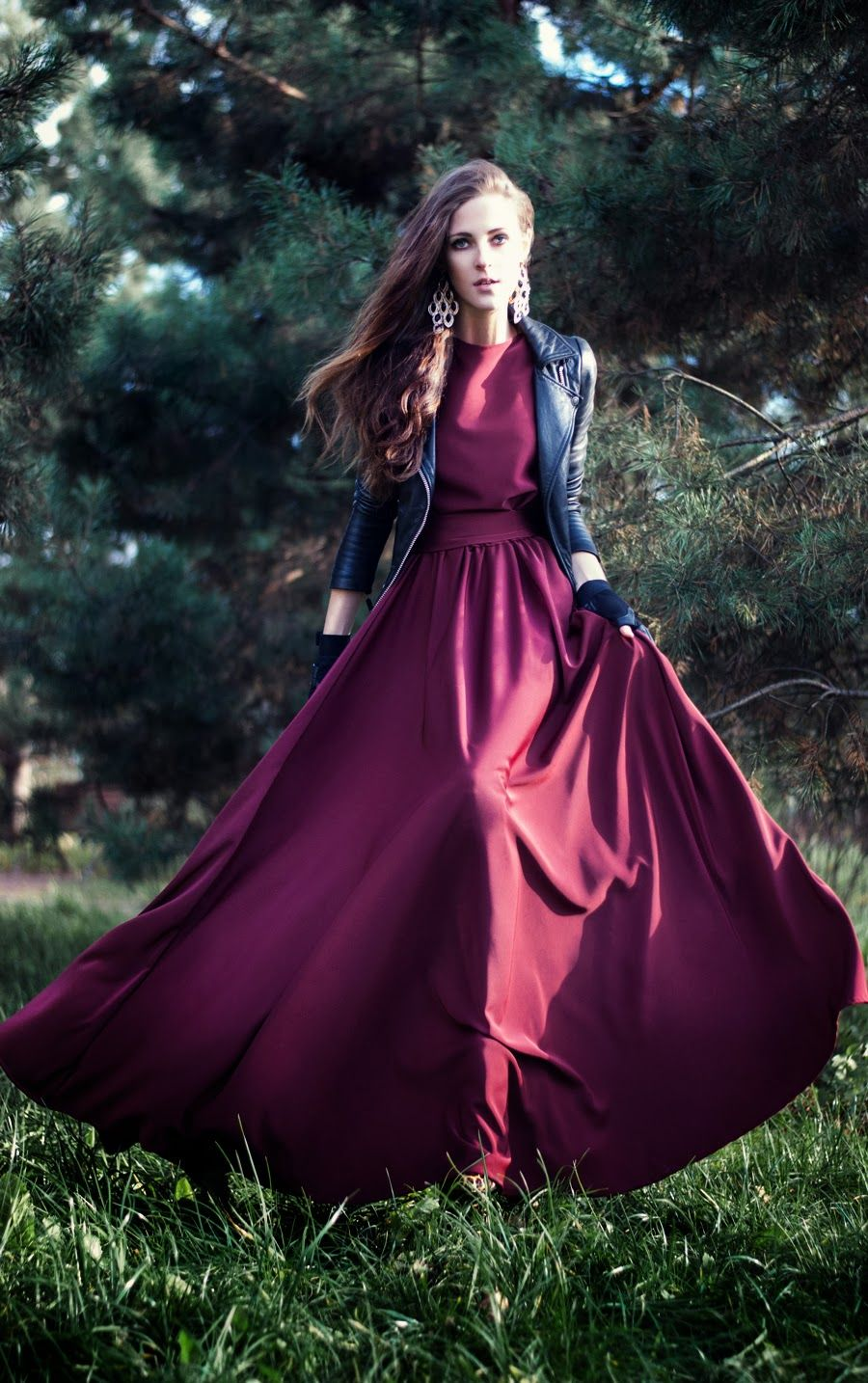 red dress, burgundy, leather jacket and dress, outfit