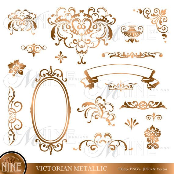 BRONZE VICTORIAN Design Elements Digital Clipart, Instant Download, Vintage  Accents Frame Borders Clip art Illustrations