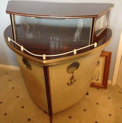 Vintage Retro Drink Cabinet Vintage Bar Drink Storage Boat Decor