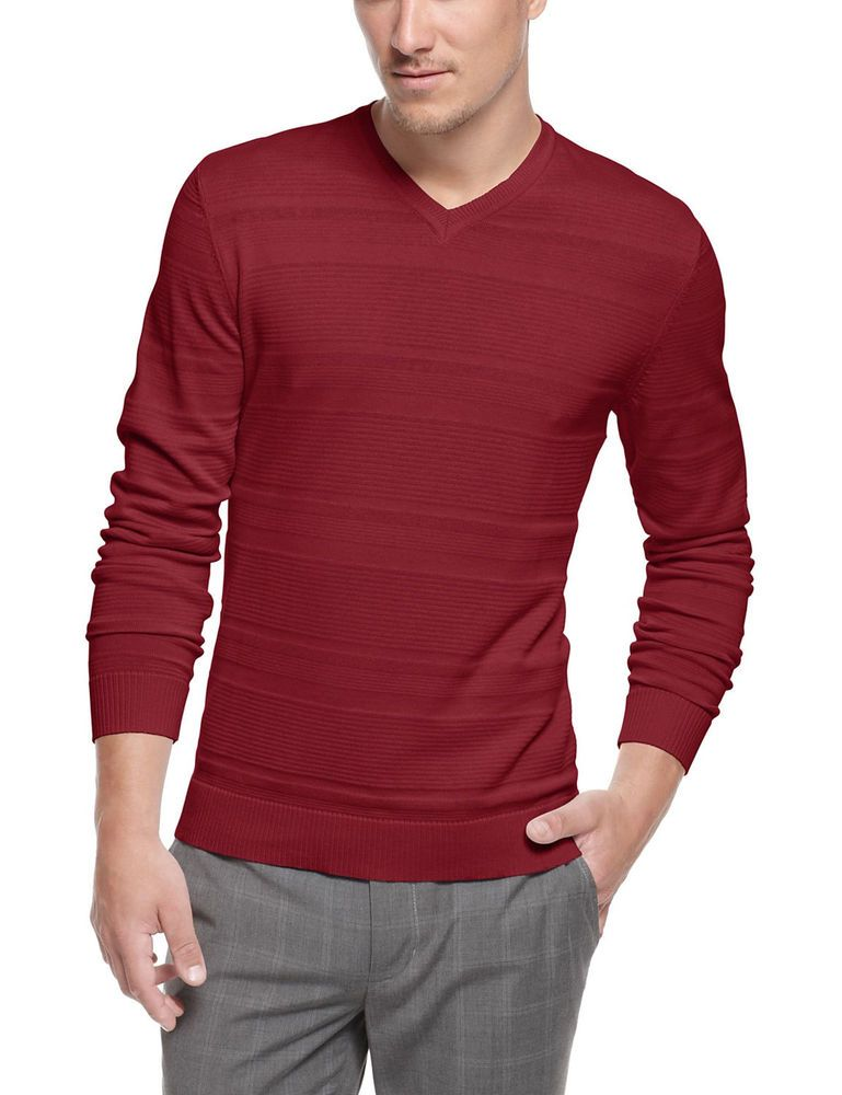 705729947bf1 ALFANI Red Label Slim Fit Textured V-Neck Sweater Crimson Red X-Large XL  $69 #fashion #clothing #shoes #accessories #mensclothing #sweaters (ebay  link)